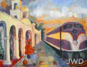Joy Dickinson's 2012 painting of Orlando's Spanish Mission Train Station used a vintage postcard for inspiration.