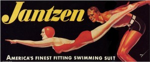 George Petty's airbrushed version of the Jantzen Red Diving Girl became popular in the 1930s and 1940s. The `Petty Girl ' was a successor to the Gibson Girl , an ideal of American beauty