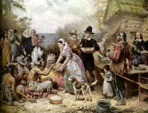 """The First Thanksgiving, 1621,"" by J.L.G. Ferris. Library of Congress"
