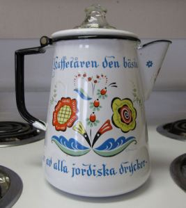 "A Swedish coffeepot. Thanks to Patty Sundberg, ""From the Deep Quiet."""