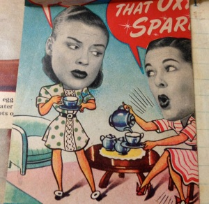 "The ladies are discussing ""that Oxydol sparkle"" on the back of a recipe in Mom's old book of clippings."