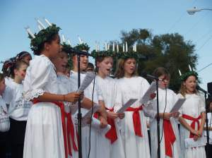 Singers at the annual St. Lucia Festival in Sanford, Fla.