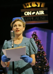 "Piper Rae Patterson as radio actress Sally Applewhite in Orlando Shakes's ""It's a Wonderful Life: A Live Radio Play."" (BroadwayWorld.com)"