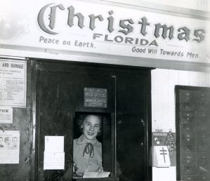 Juanita Tucker at the Christmas, Florida, post office in the 1940s. (Florida State Archives)